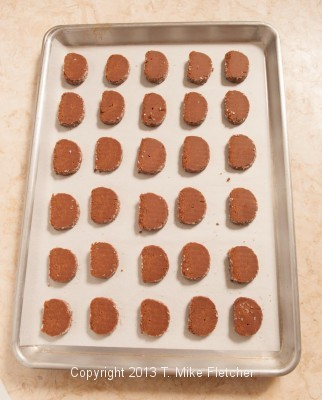 Tray of unbaked cookies