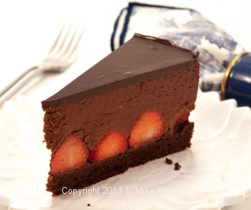 Finished Slice, Chocolate Strawberry Mousse Torte