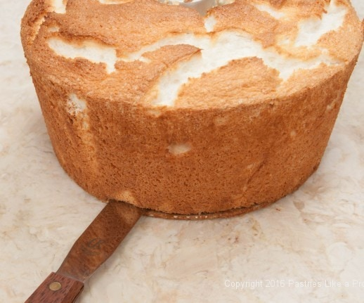 Releasing the bottom of the Angel Food Cake
