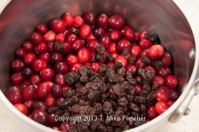 Cranberry ingred. in pan