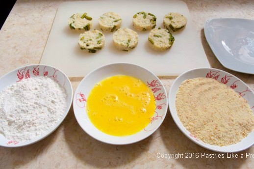 Breading station for the Lemon Asparagus Risotto Cakes