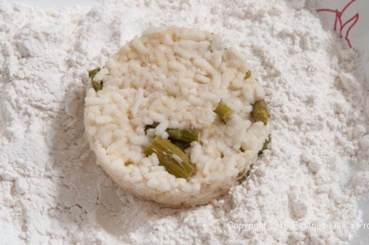 Risotto cake in flour for the Lemon Asparagus Risotto Cake