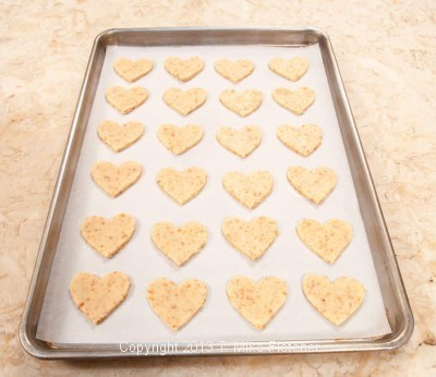Tray of cut out cookies