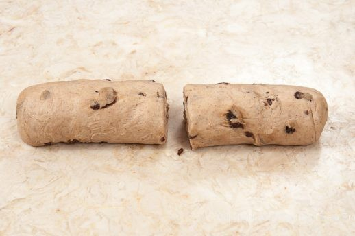 Dough divided in half for Hot Cross Buns