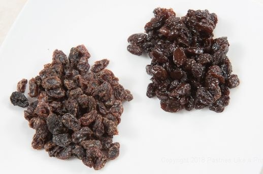 Two different raisins for Hot Cross Buns