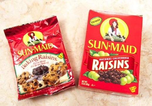 Two packages of raisins for Hot Cross Buns