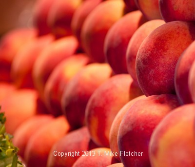 Peaches at a Farmers Market
