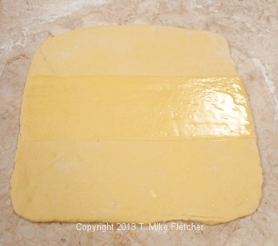 Brushed center with butter