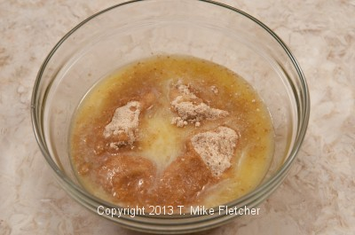 Crumbs and butter in a bowl