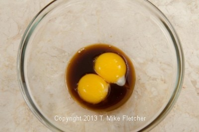 egg yolks with coffee mixture