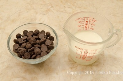 Glaze ingredients for the Triple Chocolate Cheesecake