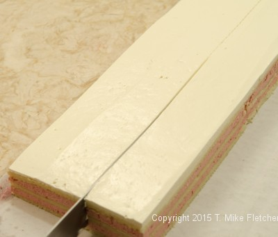 Two inch layers cut for wedding cakes