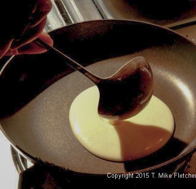 Labeling the butter into the pan for All Purpose French Crepes