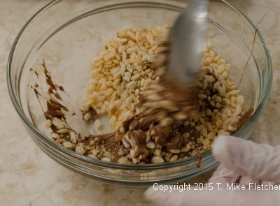 Combining base ingredients for Hazelnut Crunch Bars