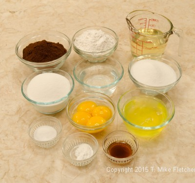 Ingredients for the Chocolate Chiffon Cake for the Double Chocolate Mousse Cake