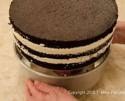 Releasing the cake from the pan by sliding the side of the pan down.