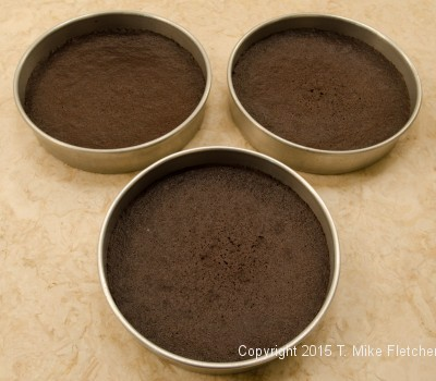 Baked layers of chocolate chiffon cake for the Double Chocolate Mousse Cake