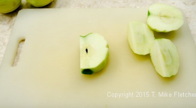 Cutting apples for Apple Crostatas with Pastry Cream