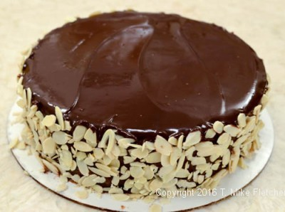 Completed cake for the Boston Cream Pie