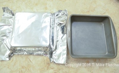 Foil and pan for Two Ingredient Fudge Hearts