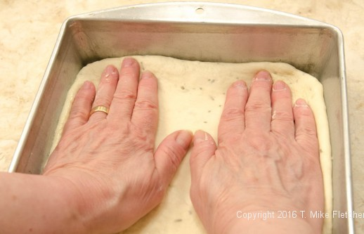 Pressing out layer for Stuffed Focaccia