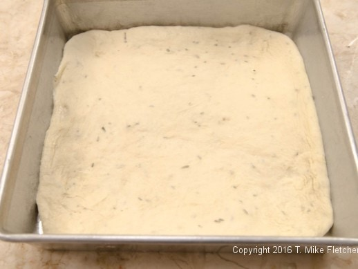 Bottom layer pressed out for Stuffed Focaccia