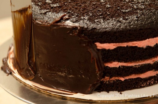 Applying ganache to the sides of the cake for When, Why and How to Undercoat a Cake