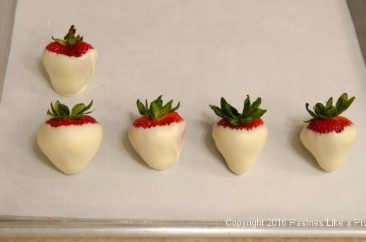 Dipped strawberries for the Chocolate Strawberry Ruffle Cake