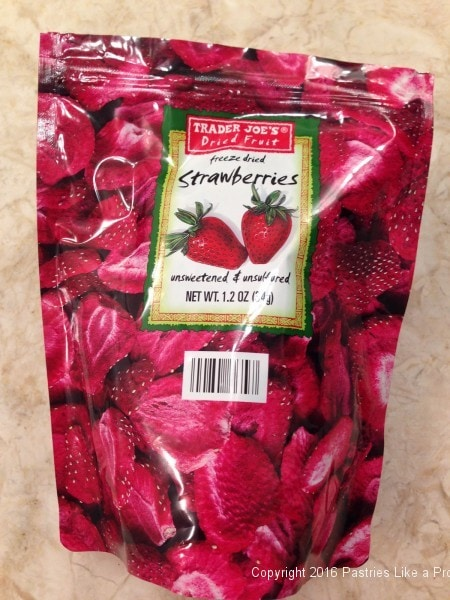 Freeze dried strawberries for the Chocolate Strawberry Ruffle Cake
