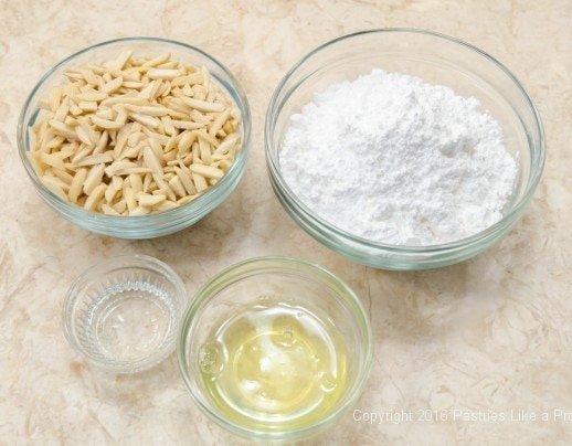 Ingredients for almond paste