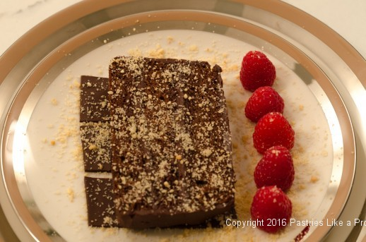Plated slice of cake for Chocolate Raspberry Gateau