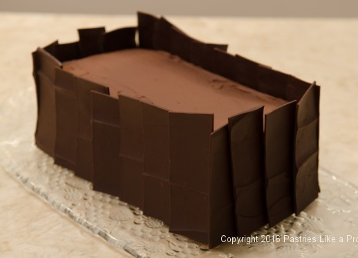 Chocolate panels on cake for the Chocolate Raspberry Gateau