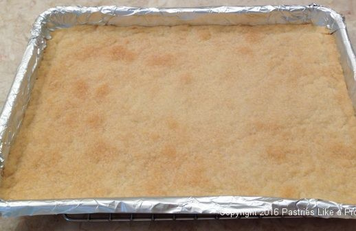 Crust baked for the Almond Raspberry Triangles