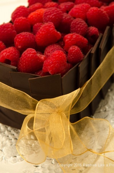Raspberries on top of the Chocolate Raspberry Gateau