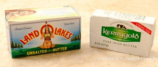 Butters used for American Butter vs. European Butter