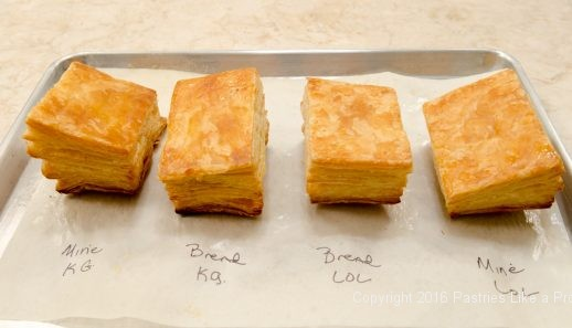 Bottoms of puff pastry for American vs. Europen Butter