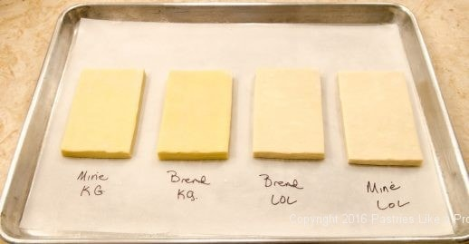 Unbaked puff pastry for American Butter vs. European Butter