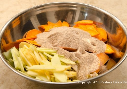 Apples, sweet potatoes, dry ingredients for the Harvest Pie