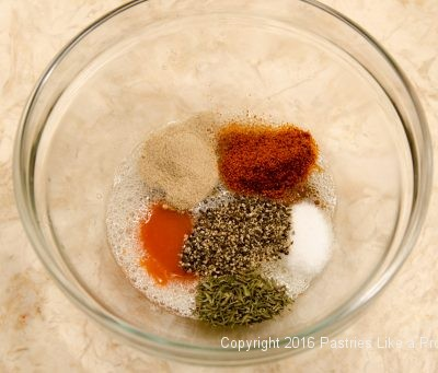 Spices and liquids for the Hot Peppered Pecans