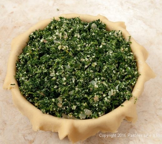 Top layer of Spinach filling for the Torta Rustica