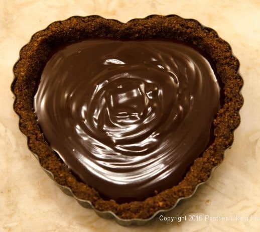 Chocolate filled tart for the No Bake Chocolate Raspberry Truffle Tarts