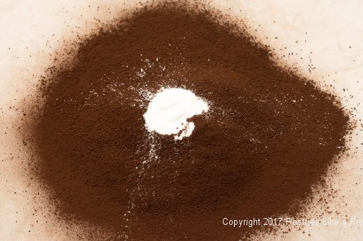 Cocoa and baking powder for the Decadent Gluten Free Turtle Cake