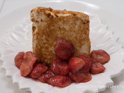 Roasted Strawberries on the plate with he Toasted Angel Food Cake