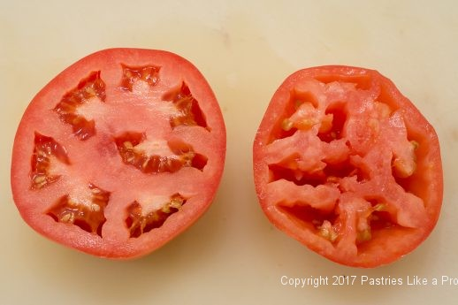 Seeded and Juiced Tomatoes for International flatbreads