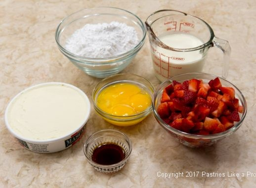 Mascarpone filling ingredients for the Strawberry Chocolate Crunch Parfaits