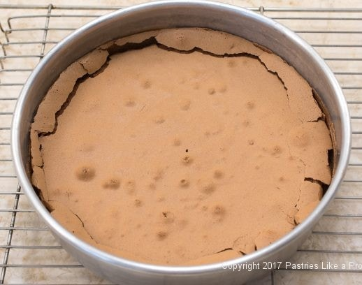 Meringued top for Chocolate Rasperry Marzipan Gateau