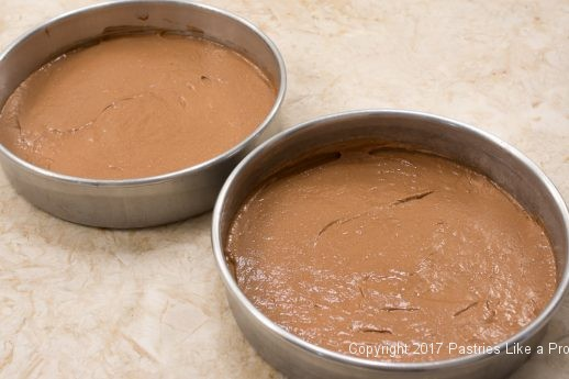 Batter in pans for the Chocolate Raspberry Marzipan Gateau