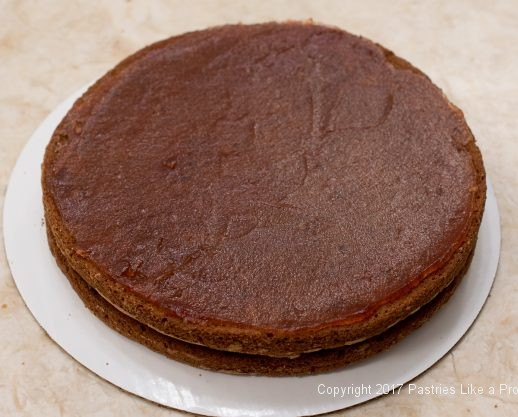 Two layers of cake finished for the Chocolate Raspberry Marzipan Gateau