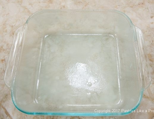 Glass dish for the Streusel Topped Blueberry Cobbler