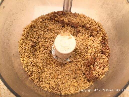 Walnuts added to crumbs for the Streusel Topped Blueberry Cobbler
